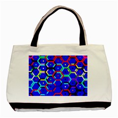 Blue Bee Hive Pattern Basic Tote Bag (two Sides)