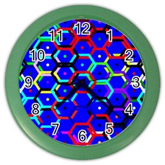 Blue Bee Hive Pattern Color Wall Clocks