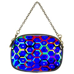 Blue Bee Hive Pattern Chain Purses (two Sides)