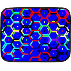 Blue Bee Hive Pattern Double Sided Fleece Blanket (mini)