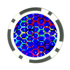 Blue Bee Hive Pattern Poker Chip Card Guard (10 Pack)