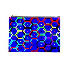 Blue Bee Hive Pattern Cosmetic Bag (large)