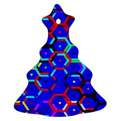 Blue Bee Hive Pattern Ornament (christmas Tree)