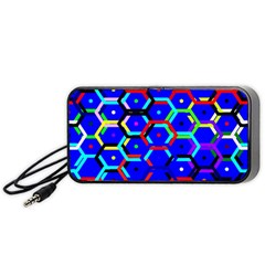 Blue Bee Hive Pattern Portable Speaker (black)