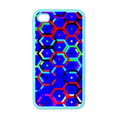 Blue Bee Hive Pattern Apple Iphone 4 Case (color)