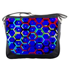 Blue Bee Hive Pattern Messenger Bags