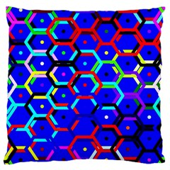 Blue Bee Hive Pattern Large Cushion Case (two Sides)