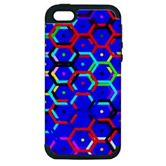 Blue Bee Hive Pattern Apple Iphone 5 Hardshell Case (pc+silicone)
