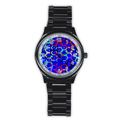 Blue Bee Hive Pattern Stainless Steel Round Watch