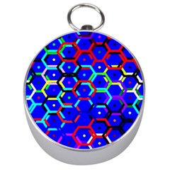 Blue Bee Hive Pattern Silver Compasses