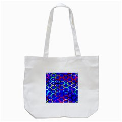 Blue Bee Hive Pattern Tote Bag (white)