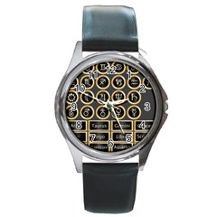 Black And Gold Buttons And Bars Depicting The Signs Of The Astrology Symbols Round Metal Watch