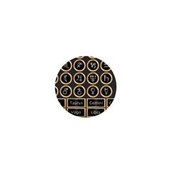 Black And Gold Buttons And Bars Depicting The Signs Of The Astrology Symbols 1  Mini Magnets