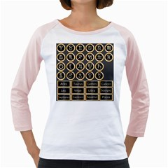 Black And Gold Buttons And Bars Depicting The Signs Of The Astrology Symbols Girly Raglans