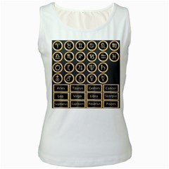 Black And Gold Buttons And Bars Depicting The Signs Of The Astrology Symbols Women s White Tank Top