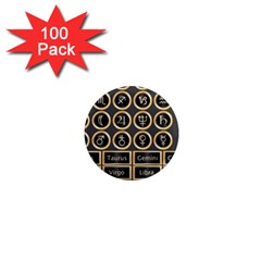 Black And Gold Buttons And Bars Depicting The Signs Of The Astrology Symbols 1  Mini Magnets (100 pack)
