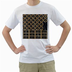 Black And Gold Buttons And Bars Depicting The Signs Of The Astrology Symbols Men s T Shirt (white) (two Sided)