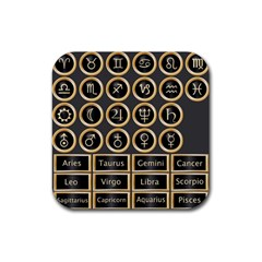 Black And Gold Buttons And Bars Depicting The Signs Of The Astrology Symbols Rubber Coaster (square)