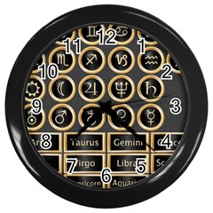 Black And Gold Buttons And Bars Depicting The Signs Of The Astrology Symbols Wall Clocks (black)