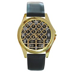 Black And Gold Buttons And Bars Depicting The Signs Of The Astrology Symbols Round Gold Metal Watch