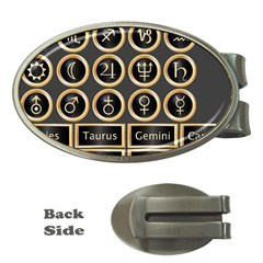 Black And Gold Buttons And Bars Depicting The Signs Of The Astrology Symbols Money Clips (oval)