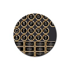 Black And Gold Buttons And Bars Depicting The Signs Of The Astrology Symbols Rubber Round Coaster (4 Pack)