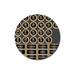 Black And Gold Buttons And Bars Depicting The Signs Of The Astrology Symbols Magnet 3  (Round)