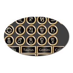 Black And Gold Buttons And Bars Depicting The Signs Of The Astrology Symbols Oval Magnet