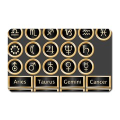 Black And Gold Buttons And Bars Depicting The Signs Of The Astrology Symbols Magnet (rectangular)