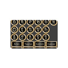 Black And Gold Buttons And Bars Depicting The Signs Of The Astrology Symbols Magnet (name Card)