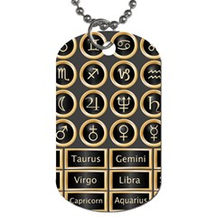 Black And Gold Buttons And Bars Depicting The Signs Of The Astrology Symbols Dog Tag (One Side)