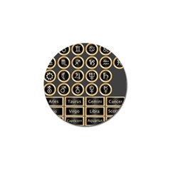Black And Gold Buttons And Bars Depicting The Signs Of The Astrology Symbols Golf Ball Marker