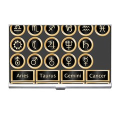 Black And Gold Buttons And Bars Depicting The Signs Of The Astrology Symbols Business Card Holders