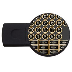 Black And Gold Buttons And Bars Depicting The Signs Of The Astrology Symbols USB Flash Drive Round (2 GB)