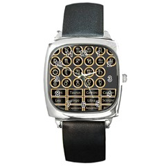 Black And Gold Buttons And Bars Depicting The Signs Of The Astrology Symbols Square Metal Watch
