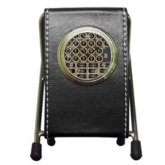 Black And Gold Buttons And Bars Depicting The Signs Of The Astrology Symbols Pen Holder Desk Clocks