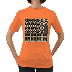 Black And Gold Buttons And Bars Depicting The Signs Of The Astrology Symbols Women s Dark T Shirt
