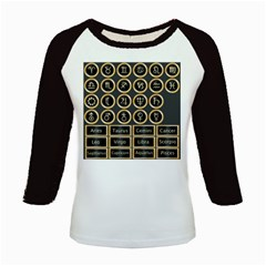 Black And Gold Buttons And Bars Depicting The Signs Of The Astrology Symbols Kids Baseball Jerseys