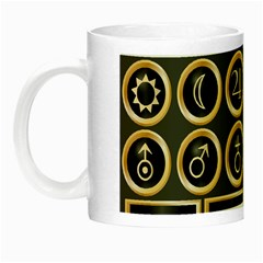 Black And Gold Buttons And Bars Depicting The Signs Of The Astrology Symbols Night Luminous Mugs
