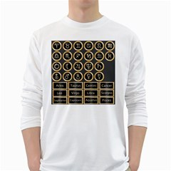 Black And Gold Buttons And Bars Depicting The Signs Of The Astrology Symbols White Long Sleeve T Shirts