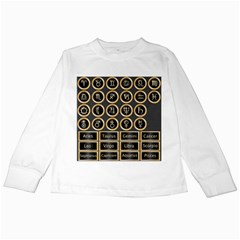 Black And Gold Buttons And Bars Depicting The Signs Of The Astrology Symbols Kids Long Sleeve T Shirts