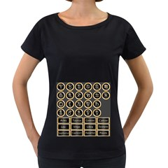Black And Gold Buttons And Bars Depicting The Signs Of The Astrology Symbols Women s Loose Fit T Shirt (black)
