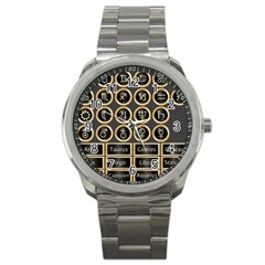 Black And Gold Buttons And Bars Depicting The Signs Of The Astrology Symbols Sport Metal Watch