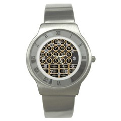 Black And Gold Buttons And Bars Depicting The Signs Of The Astrology Symbols Stainless Steel Watch