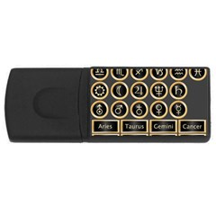 Black And Gold Buttons And Bars Depicting The Signs Of The Astrology Symbols Usb Flash Drive Rectangular (4 Gb)