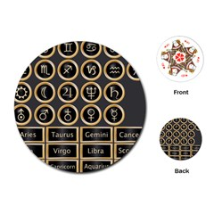 Black And Gold Buttons And Bars Depicting The Signs Of The Astrology Symbols Playing Cards (round)