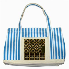 Black And Gold Buttons And Bars Depicting The Signs Of The Astrology Symbols Striped Blue Tote Bag