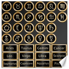 Black And Gold Buttons And Bars Depicting The Signs Of The Astrology Symbols Canvas 20  X 20