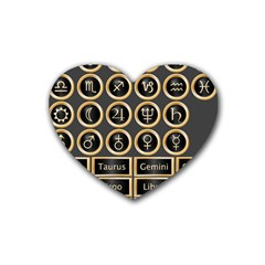 Black And Gold Buttons And Bars Depicting The Signs Of The Astrology Symbols Rubber Coaster (heart)