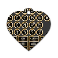 Black And Gold Buttons And Bars Depicting The Signs Of The Astrology Symbols Dog Tag Heart (one Side)